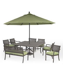 Madison Outdoor 8 Piece Set 64 Square Dining Table, 6 Dining Chairs and 1 Bench   Furniture