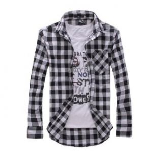 2013 New Arrival, Long Sleeve Plaid Shirts for Men, Turn down Collar Shirt, Fashion Slim Style (COLOR  WHITE PLAID  SIZE  XXL) at  Men�s Clothing store