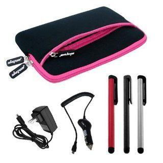 Skque Premium Pink Glove Case + Stylus Pen(Red/Sliver/Black colors) + Micro USB Rapid Car Charger + Home/Travel Wall Charger for HTC Flyer 7 Inch Tablet Computers & Accessories