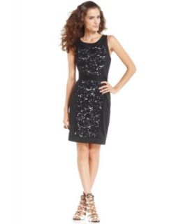 Adrianna Papell Sleeveless Contrast Lace Blouson Dress   Dresses   Women