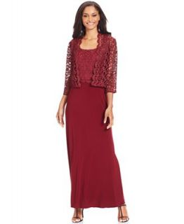 Patra Dress and Jacket, Sleeveless Glitter Lace Gown   Dresses   Women