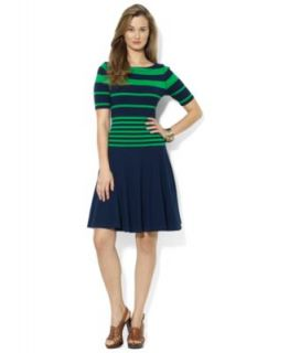 Lauren Ralph Lauren Petite Boat Neck Striped Belted Dress   Dresses   Women