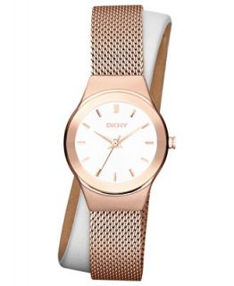 DKNY Watch, Womens White Leather and Rose Gold Ion Plated Stainless Steel Mesh Double Wrap Strap 28mm NY8800   Watches   Jewelry & Watches