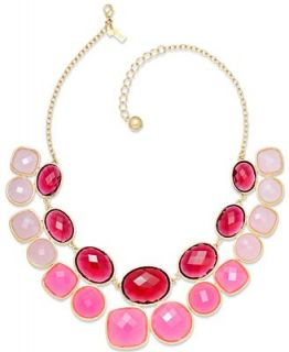 kate spade new york Necklace, Gold Tone Pink Stone Double Row Necklace   Fashion Jewelry   Jewelry & Watches