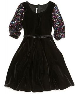 Bonnie Jean Girls Dress, Girls Sequin Sleeved Dress   Kids