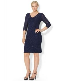 Lauren Ralph Lauren Plus Size Sleeveless Sequined Lace Drape Neck Dress   Dresses   Plus Sizes
