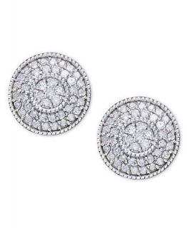 Diamond Earrings, 14k White Gold and Diamond Circle Cluster Earrings (1/2 ct. t.w.)   Earrings   Jewelry & Watches