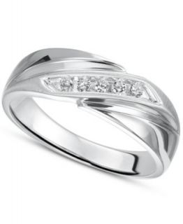 Triton Mens Diamond Ring, Stainless Steel Diamond Wedding Band (1/6 ct. t.w.)   Rings   Jewelry & Watches
