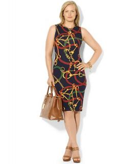 Lauren Ralph Lauren Plus Size Sleeveless Equestrian Print Dress   Dresses   Plus Sizes