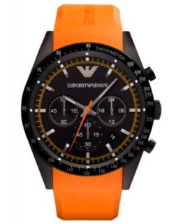 Emporio Armani Watch, Chronograph Brown Leather Strap 43mm AR0387   Watches   Jewelry & Watches