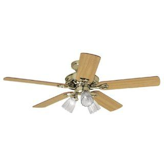 Hunter 22436 Sontera Three Light 52 Inch Five Blade Ceiling Fan, Bright Brass with Clear Globes