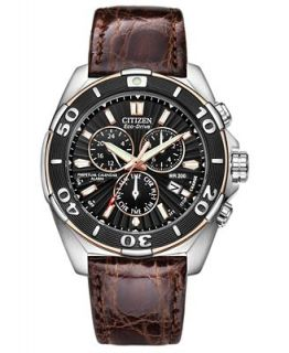 Citizen Mens Eco Drive Signature Perpetual Calendar Chronograph Brown Leather Strap Watch 43mm BL5446 01E   Watches   Jewelry & Watches