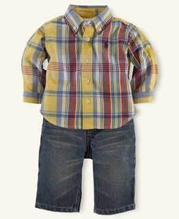 Ralph Lauren Baby Set, Baby Boys Plaid Shirt and Pant Set   Kids