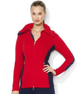 Lauren Ralph Lauren Plus Size Long Sleeve Ribbed Colorblocked Zip Up Cardigan   Sweaters   Plus Sizes