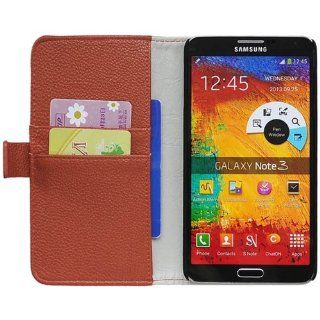 Likeeb Litchi Skin Wallet Leather Case Cover for Samsung Galaxy Note 3 N9000 N9002 N9005 Brown Cell Phones & Accessories