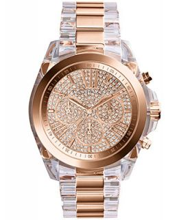 Michael Kors Womens Chronograph Bradshaw Clear and Rose Gold Tone Stainless Steel Bracelet Watch 43mm MK5905   Watches   Jewelry & Watches
