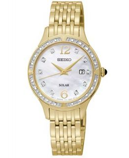 Seiko Watch, Womens Solar Diamond Accent Gold Tone Stainless Steel Bracelet 29mm SUT094   Watches   Jewelry & Watches