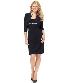 Alex Evenings Dress and Jacket, Sleeveless Beaded Cowl Neck Faux Wrap   Dresses   Women