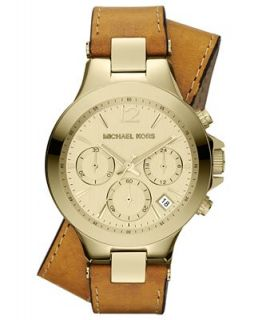 Michael Kors Womens Chronograph Peyton Luggage Leather Double Strap Watch 38mm MK2261   Watches   Jewelry & Watches