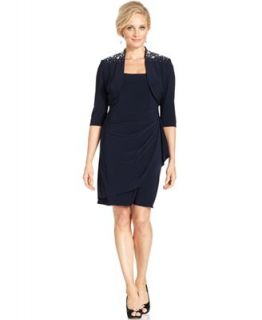 Alex Evenings Petite Dress and Jacket, Sleeveless Jewel Sheath   Dresses   Women
