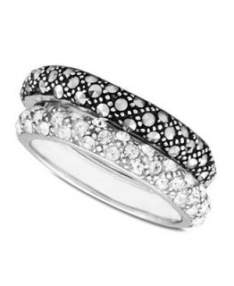Genevieve & Grace Sterling Silver Rings Set, Marcasite and Crystal Band Rings Set   Rings   Jewelry & Watches
