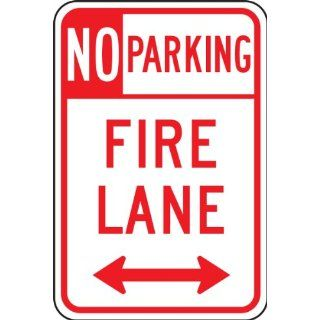 "Accuform Signs FRP129RA Engineer Grade Reflective Aluminum Parking Restriction Sign, Legend ""NO PARKING FIRE LANE"" with Double Arrow, 12"" Width x 18"" Length x 0.080"" Thickness, Red on White"