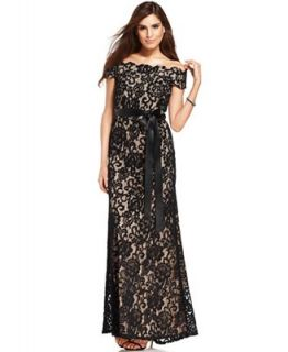 Betsy & Adam Dress, Off Shoulder Lace Gown   Dresses   Women