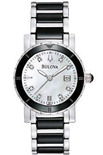 Bulova 98P122 Ladies Diamonds White Black Watch at  Women's Watch store.