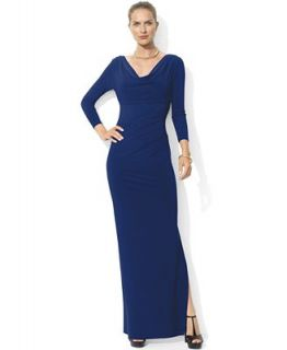 Lauren Ralph Lauren Dress, Three Quarter Sleeve Pleated Jersey Gown   Dresses   Women