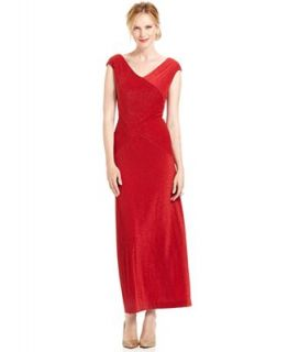 Alex Evenings Dress, Cap Sleeve Metallic V Neck Gown   Dresses   Women