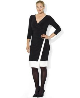 Lauren Ralph Lauren Plus Size Colorblocked Faux Wrap Dress   Dresses   Plus Sizes