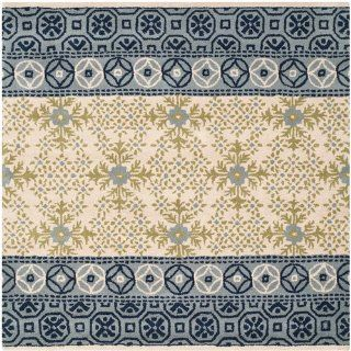 Safavieh BEL119A Bella Collection Handmade Wool and Viscose Square Area Rug, 5 Feet, Ivory and Blue
