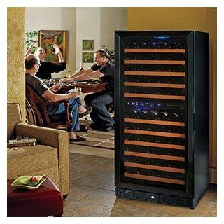 Wine Enthusiast N'finity 121 bottle Wine Cellar Dual Temperature, Black Trimmed Door 5 Blue LED Interior Lights, Built in Versatility  Free Standing Wine Cellars