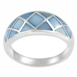 Tressa Sterling Silver Blue Mother of Pearl Ring Tressa Gemstone Rings