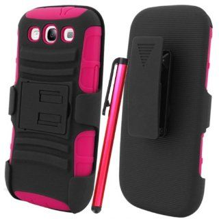 [ManiaGear] Samsung Galaxy S3 S 3 SIII Black/Hot Pink Heavy Duty Combat Holster Case + Screen Protector & Stylus Pen Cell Phones & Accessories