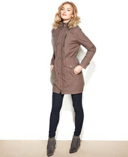 RACHEL Rachel Roy Coat, Hooded Faux Fur Trim Anorak   Coats   Women