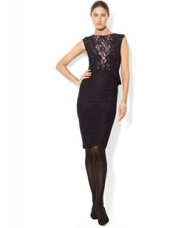 Lauren Ralph Lauren Sleeveless Lace Peplum Dress   Dresses   Women
