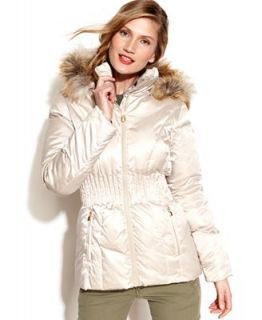 Laundry by Shelli Segal Hooded Faux Fur Trim Quilted Puffer Coat   Coats   Women