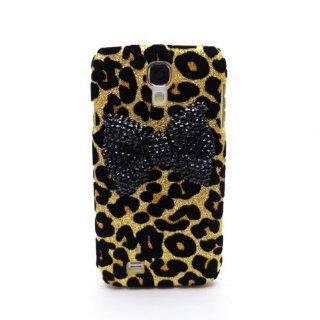3D Rhinestone Black Bow Gold Leopard Skin Case Cover for Samsung Galaxy SIV S4 i9500 Cell Phones & Accessories