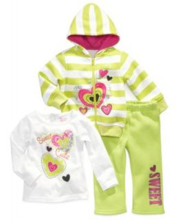 Little Me Baby Girls 3 Piece Striped Jacket, Dot Top & Pants Set   Kids