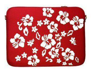 "DIGITTRADE LS107 15 Designer Notebook Sleeve 15.4"" Laptop Cover Red Flower Neoprene Soft Carry Case up to 15.6 Inch Anti Shock System Electronics"