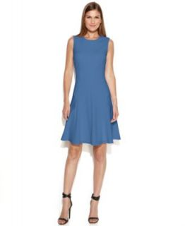 Calvin Klein Sleeveless Moto Faux Wrap Dress   Dresses   Women
