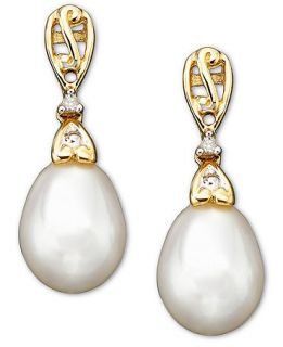 14k Gold Cultured Freshwater Pearl & Diamond Accent Drop Earrings   Earrings   Jewelry & Watches