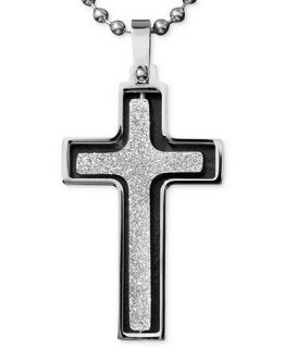 Mens Stainless Steel Necklace, Textured Finish Spin Cross Pendant   Necklaces   Jewelry & Watches