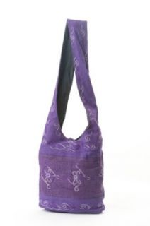 HC102Earth Divas HC102 PDD Hemp Cotton Sling Women's Crossbody Handbag, Purple Diamonds Shoulder Handbags Clothing