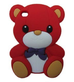 FJX 3D Cartoon Cute Teddy Bear Soft Silicone Skin Case Protective Cover for Apple iPod Touch 4 4G 4th Generation (Red) Cell Phones & Accessories