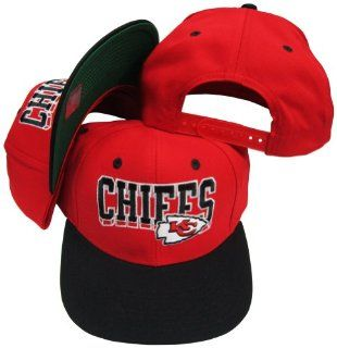 Kansas City Chiefs Red / Black Two Tone Plastic Snapback Adjustable Plastic Snap Back Hat / Cap  Sports Fan Baseball Caps  Sports & Outdoors