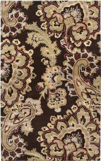 9' x 13' Paisley Dreams Brown Hand Tufted Plush Pile Wool Area Throw Rug