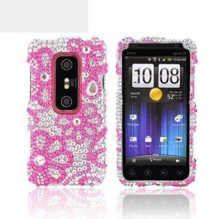 Pink Lace Flowers on Silver Gems Bling HTC EVO 3D Hard Case Cover; Fashion Jeweled Snap On Plastic Case; Perfect Fit as Best Coolest Design Cases for EVO 3D/HTC 3D Compatible with Verizon, AT&T, Sprint,T Mobile and Unlocked Phones Cell Phones & Ac