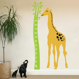 giraffe height chart wall sticker by the bright blue pig